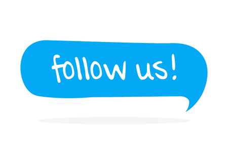 Follow us. Flat vector hand drawn speech bubble, lettering illustration on white background. Иллюстрация