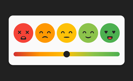 Vector Smiley Faces for Rating or Review, Feedback Rate Emoticon, Emotion Smile, Ranking Bar, Smiley Face Customer and User Review, Survey, Vote, Emoji Symbols.