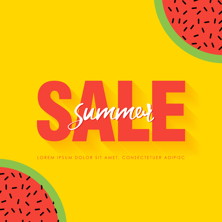 Watermelon Super Summer Sale Banner template. Origami juicy ripe watermelon slices. Healthy food on yellow. Summertime. Vector illustration