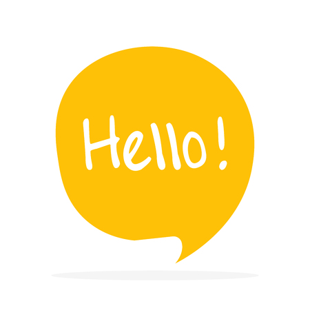 Cute vector speech bubble icon with hello greeting. 向量圖像