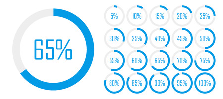 Set of circle percentage diagrams from to 100 for web design, user UI interface or infographic - indicator with blue color. Vector illustration.
