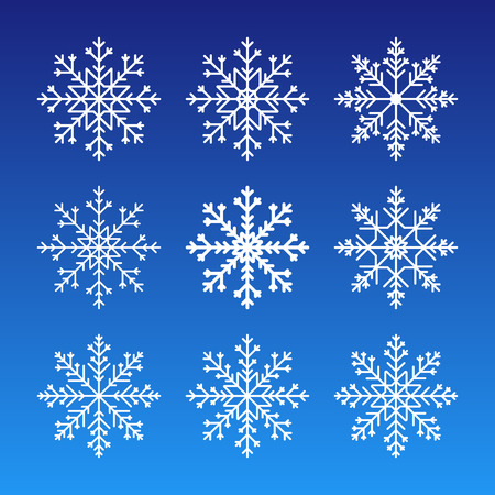 Cute snowflakes collection isolated on dark background. Flat snow icons silhouette. Nice element for christmas banner, cards. New year ornament.