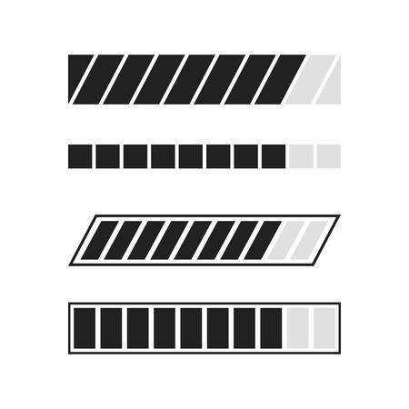 Loading process icons set. Download and upload indicator sign, waiting symbols. Vector illustration.