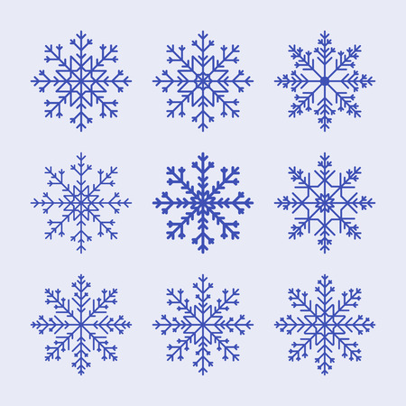 Vector snowflake set. Pattern for Christmas or New Year decoration. Background illustration for greeting card, banner and other holiday media.