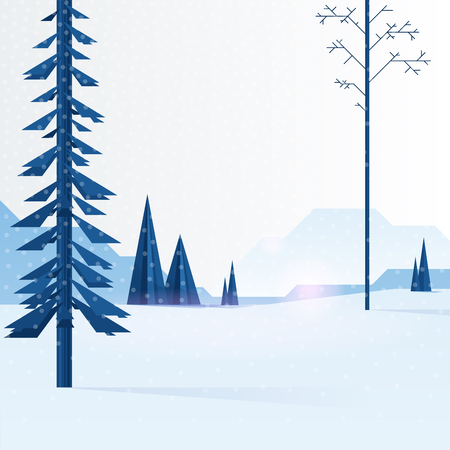 Beautiful Christmas winter flat landscape background. Christmas forest woods with mountains. New Year winter vector landscape.