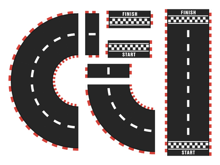 Race track with start and finish line. top view Illustration