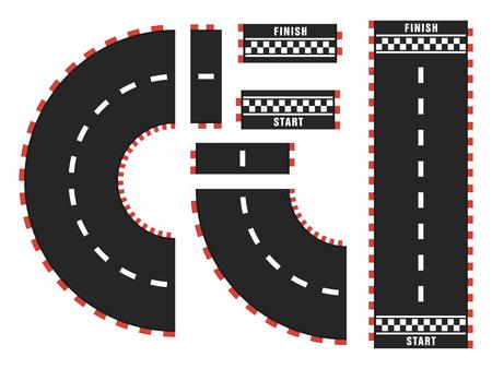 Rennstrecke mit Start- und Ziellinie. Draufsicht Vektorgrafik