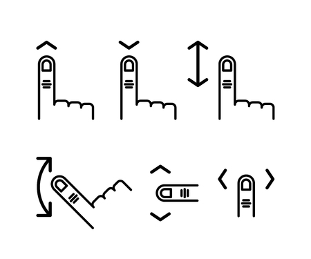 Scroll through the touchscreen. Hand with index finger and down up arrow. linear icon set. Line with editable stroke