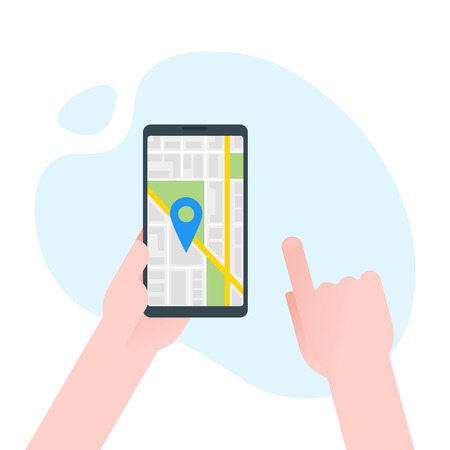 Hand holds smartphone with city map gps navigator on smartphone screen. Mobile navigation concept. Modern simple flat design for web banners, web sites, infographics. Creative vector illustration.