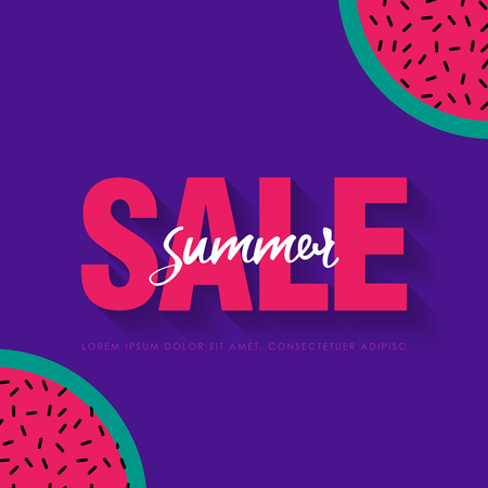 Watermelon Super Summer Sale Banner template. Origami juicy ripe watermelon slices. Healthy food on purple. Summertime. Vector illustration