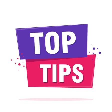 Top tips teken label tekstballon teken. Banner in origami-stijl. Vector illustratie.