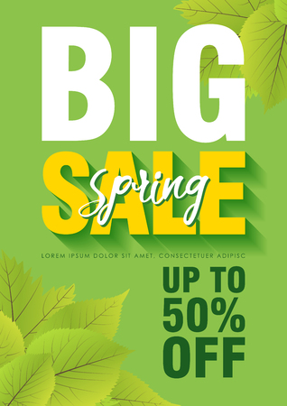 Spring sale poster template with leaves and Big Sale text in green background. Vector illustration.