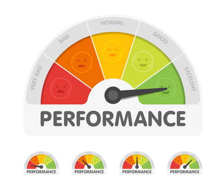 Performance meter with different emotions. Measuring gauge indicator vector illustration. Black arrow in coloured chart background.