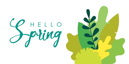 Vector illustration in trendy flat simple style - background with copy space for text - plants, leaves, trees - background for banner, greeting card, poster, advertising - hand-lettering hello spring.