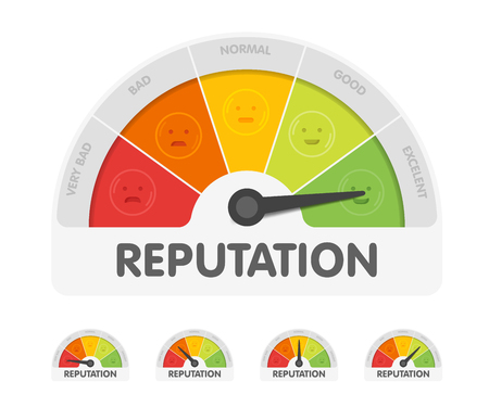 Reputation meter withdifferent emotions. Measuring gauge indicator vector illustration. Black arrow in coloured chart background. Stock Illustratie