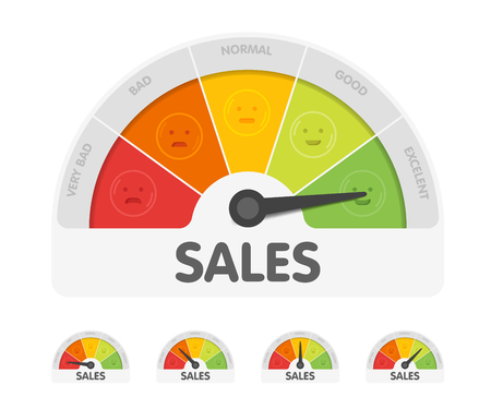 Sales meter with different emotions. Measuring gauge indicator vector illustration. Black arrow in coloured chart background.