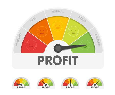 Profit meter with different emotions. Measuring gauge indicator vector illustration. Black arrow in coloured chart background. Illustration