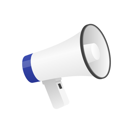 Vector illustration of cool detailed megaphone icon isolated on white background.
