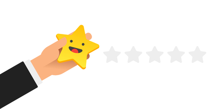 Hand putting five gold stars with smile face on white background. Quality, opinion and success concept. Flat design. Vector illustration. Stock Illustratie