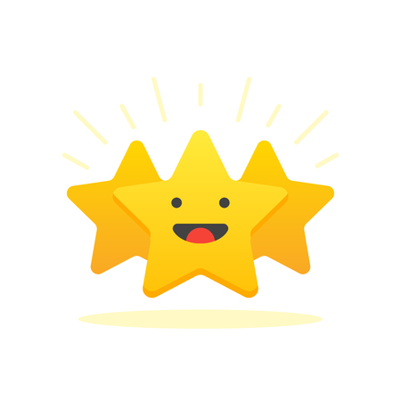 Iconic illustration of satisfaction level. Customer review give star. Positive feedback concept. Minimal flat design. Vector illustration. Isolated on white background