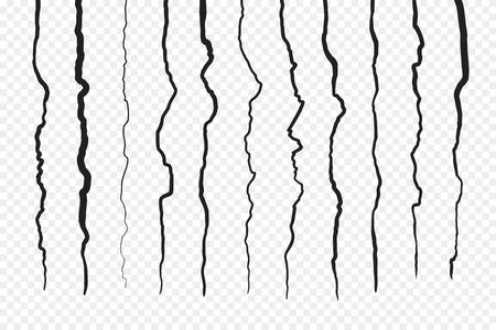 Grietas de pared aisladas sobre fondo transparente. Tierra de la superficie de la fractura, ilustración del colapso roto de la hendidura. Ilustración vectorial