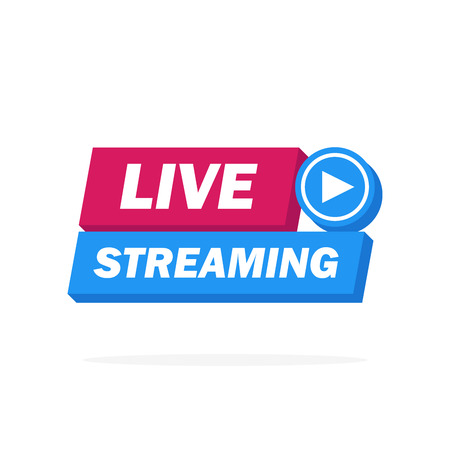 Live Streaming Icon, Badge, Emblem for broadcasting or online tv stream. Vector in material, flat, design style.