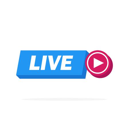 3d Live Streaming online sign vector design illustration