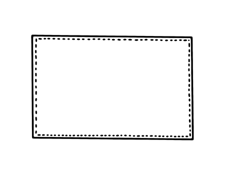 Simple inky hand drawn isolated vector outline picture frame square element.