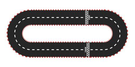 Drogowy tor wyścigowy z linią startu i mety. widok z góry. Ilustracja wektorowa