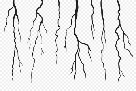 Grietas de pared aisladas sobre fondo transparente. Tierra de la superficie de la fractura, ilustración del colapso roto de la hendidura. Ilustración vectorial Ilustración de vector