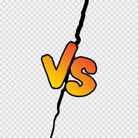 Versus sign gradient style with crack isolated on transparent background for battle, sport, competition, contest, match game, announcement of two fighters. VS icon. Vector