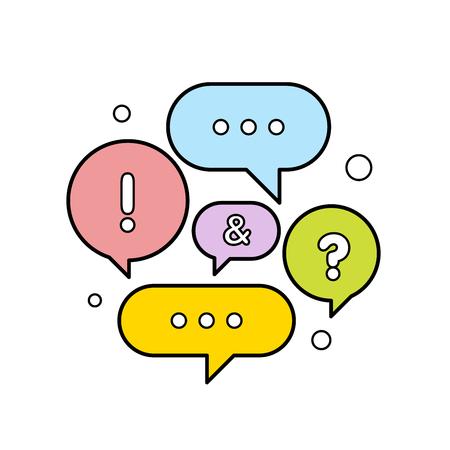 Illustrazione vettoriale di un concetto di comunicazione. Illustrazione di vettore di fumetti colorati dialoghi. Vettoriali