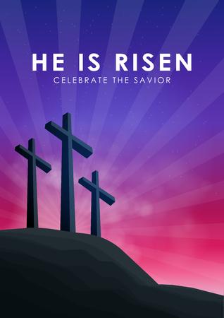 Christian easter scene, Saviour cross on dramatic sunrise scene, with text He is risen celebrate the Savior, vector illustration.