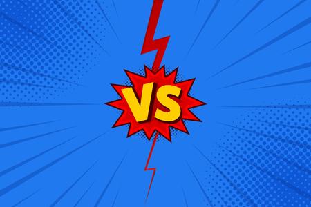 Litery Versus VS walczą z tłami w płaskim stylu komiksowym z półtonami, błyskawicami. Ilustracja wektorowa