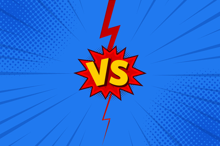Versus VS letters fight backgrounds in flat comics style design with halftone, lightning. Vector illustration Çizim
