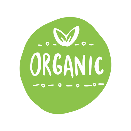 Organic products icon, food package label vector graphic design. No chemicals sign, green round stamp isolated clip art, circle tag organic farming label or sticker vector emblem.