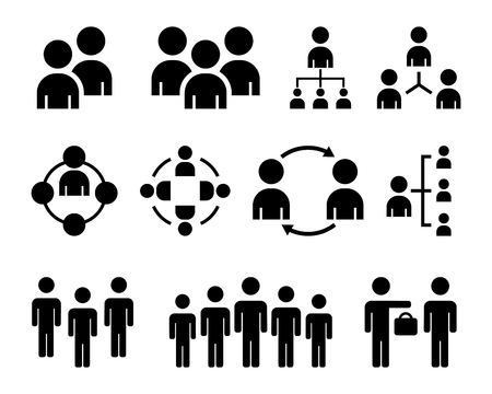 Simple Set of Business People. Contains such Icons as Meeting, Business Communication, Teamwork, connection, speaking and more. Related Vector Line Icons Stock Illustratie