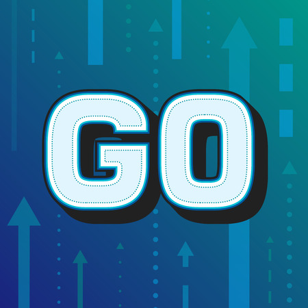 GO white word text and arrows pointing right ahead on blue background as motivational message banner. Vector illustration.