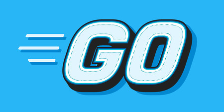 GO white word text on blue background as motivational message banner. Vector illustration