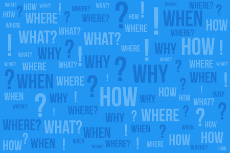 Question mark - Questions whose answers are considered basic in information gathering or problem solving, word cloud background. 矢量图像