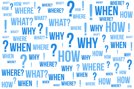Question mark - Questions whose answers are considered basic in information gathering or problem solving, word cloud background. 向量圖像