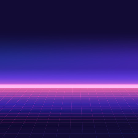 Abstrakter Retro-Hintergrund, Stil der 80er Jahre. Futuristische digitale Landschaft, Neon-Party-Flyer. Vektor-Illustration. Vektorgrafik