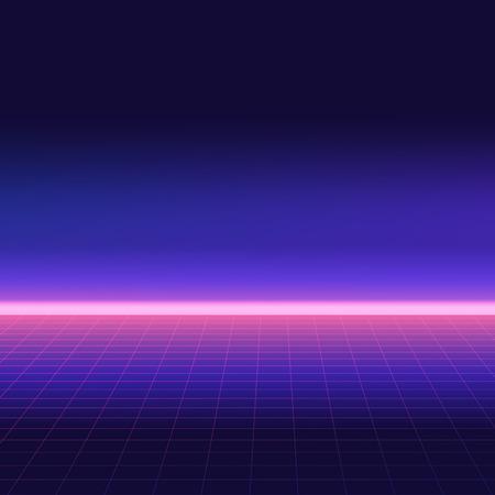 Fondo retro abstracto, estilo años 80. Paisaje digital futurista, volante de fiesta de neón. Ilustración de vector. Ilustración de vector