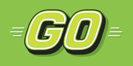GO white word text on green background as motivational message banner. Vector illustration.