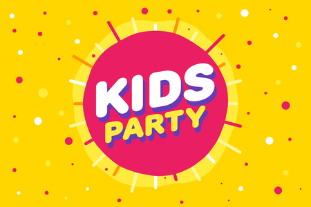 Kids party letter sign poster vector illustration in yellow sun background Illustration
