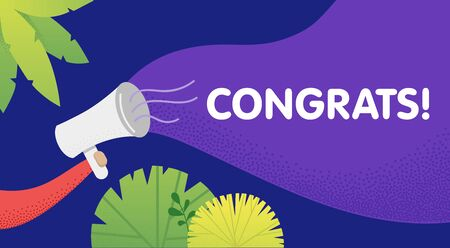 Male hand holding megaphone with congrats speech bubble. Loudspeaker. Banner for business, marketing and advertising. Vector illustration.