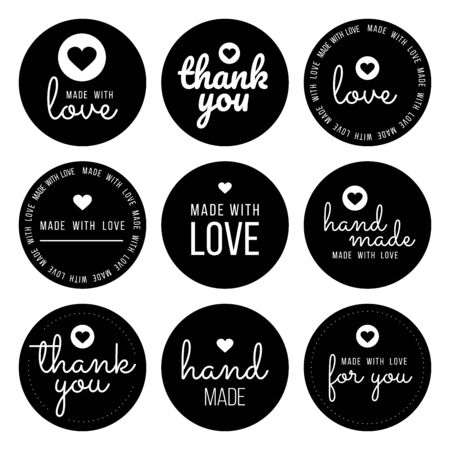 Set labels and bages for sellers including thank you, handmade, made with love and for you labels. Vector illustration.