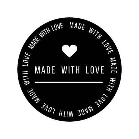 Made with Love inscription lettering quote. Made with Love calligraphy. Made with Love card. Vector illustration.