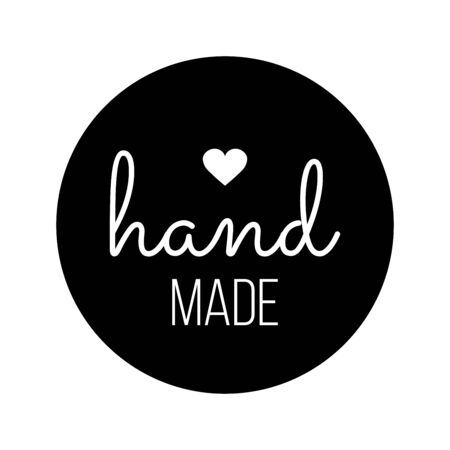 Hand Made with Love inscription lettering quote. Made with Love calligraphy. Made with Love card. Vector illustration. Illustration