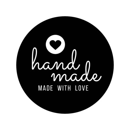 Hand Made with Love inscription lettering quote. Made with Love calligraphy. Made with Love card. Vector illustration. Stock Illustratie